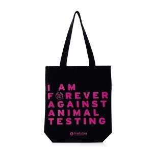 "Medžiaginis krepšelis ""Forever Against Animal Testing"""