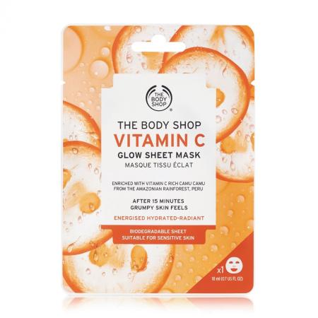 Švytėjimo suteikianti lakštinė veido kaukė su vitaminu C