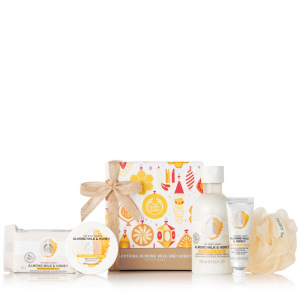 Migdolų pieno ir medaus dovanų rinkinys