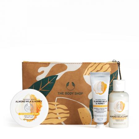 Migdolų pieno ir medaus dovanų kosmetinė